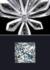 気高さを持つプリンセスカットのダイヤモンド大きなモチーフ中央にあるダイヤモンドは気高さを持つプリンセスカット。細かいカットが柔らかく煌きます。