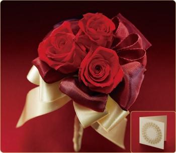 3本で薔薇とメッセージカード
